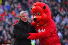Manchester United manager Sir Alex Ferguson is greeted by 'Fred the Red' during the Barclays Premier League match between Manchester United and Norwich City at Old Trafford on March 2013 in Manchester, England Shinji Kagawa, Sir Alex Ferguson, Wayne Rooney, Barclay Premier League, Premier League Matches, Old Trafford, Manchester United, Manchester England, Man United