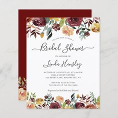 Autumn Burgundy Orange Floral Themed Wedding Invitations, Cards, Stationery and more. Bridal Luncheon Invitations, Budget Wedding Invitations, Rustic Bridal Shower Invitations, Burgundy Wedding Invitations, Bridal Shower Rustic, Rustic Wedding, Autumn Wedding, Wedding Stationery, Floral Baby Shower