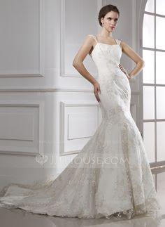 Trumpet/Mermaid Chapel Train Satin Lace Wedding Dress (002015470)