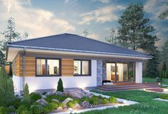 Kwadra - murowana – ceramika - zdjęcie 4 House Design Pictures, Small House Design, Modern Bungalow House, Modern House Plans, Foreclosed Properties, Three Bedroom House Plan, Story House, Facade House, Big Houses