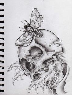 Skull and Moth by Frosttattoo.deviantart.com on @deviantART