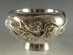 Small Silver Bowl with Dragon.Meiji period.