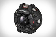 Casio GZE-1 Action Camera  Borrowing G-Shock technology from the company's ubiquitous watch line the Casio GZE-1 Action Camera is a rugged shooter for extreme sports enthusiasts. Its circular resin body has a urethane bumper that helps it withstand drops. The camera is also water-resistant to depths up to 150 feet dust-proof and can operate in freezing temperatures. Spec wise it captures Full HD video and 6.9 megapixels stills with the ability to mix slow-motion in with full-speed action in…