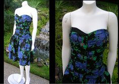 Vintage 1980s Floral Strapless Dress by Evelyn ILGWU With Tulle Under-Skirt Steampunk Party Prom Dress Costume by WestCoastVintageRSL, $48.00