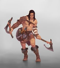 Conan by naiiade male barbarian fighter shield dual-wielding axes handaxes armor clothes clothing fashion player character npc | Create your own roleplaying game material w/ RPG Bard: www.rpgbard.com | Writing inspiration for Dungeons and Dragons DND D&D Pathfinder PFRPG Warhammer 40k Star Wars Shadowrun Call of Cthulhu Lord of the Rings LoTR + d20 fantasy science fiction scifi horror design | Not Trusty Sword art: click artwork for source