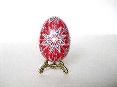 Red and Blue  Pysanka batik egg on chicken by UkrainianEasterEggs, $29.95 KATYA TRISCHUK