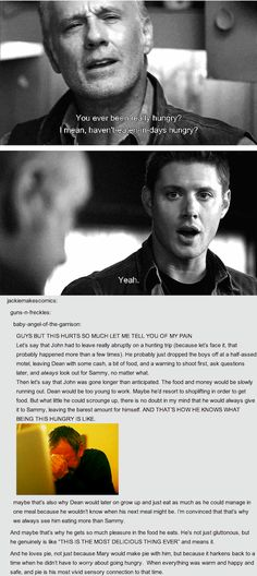 Dean #Supernatural Oh no, and 9x07 Bad Boys just confirms this. He stole PB and bread (and milk, maybe?) just to eat, and got caught and - and -...This hurts. A lot.