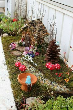 fairie  stone fairy garden mushrooms pinecones stone path | fairiehollow.com
