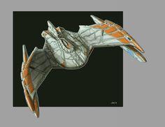 Same sketch as this one but using the Original Series color scheme. Century Romulan Bird Of Prey Redux TOS Color Star Trek Vi, Star Trek Ships, Star Wars, Starfleet Ships, Alien Ship, Star Trek Starships, Sci Fi Ships, Star Trek Universe, Science Fiction Art