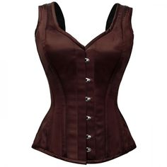 Brown Satin Shoulder Straps Corset ❤ liked on Polyvore featuring tops, corsets, shirts, blusas, steampunk, steampunk corset, corset tops, brown corset top, steampunk shirt and red corset top