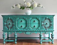 Items similar to SOLD to Heather - RARE Antique Ornate Carved Jacobean Hand Painted French Country Shabby Chic Buffet Sideboard Cabinet on Etsy Old World Furniture, Refurbished Furniture, Paint Furniture, Upcycled Furniture, Furniture Makeover, Cool Furniture, Wooden Furniture, Outdoor Furniture, Painted Buffet