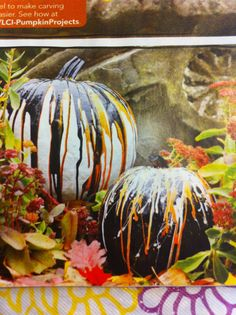 Pumpkins dripping with paint