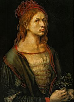 """Albrecht Durer """"Self Portrait """" / """"Portrait of the artist holding a thistle"""" . Considered one of the leading independent self-portraits of Western painting, this portrait by Albrecht Dürer in 1493 is an early work: Dürer was then only 22 years old . Renaissance Kunst, High Renaissance, Renaissance Paintings, Albrecht Durer, Louvre Museum, Fine Art, Old Master, Famous Artists, Art History"""