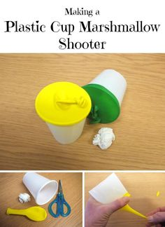 This is a guide about making a plastic cup marshmallow shooter. You can easily make a fun and safe projectile toy with plastic cups and marshmallows. Marshmallow Shooter, Marshmallow Crafts, Marshmallow Activities, Plastic Cup Crafts, Plastic Cups, Diy Crafts For Kids, Fun Crafts, Camping Crafts For Kids, Cup Games