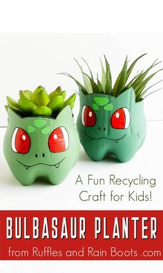 This Pokemon craft for kids is so much fun and she makes it so easy. Make this Bulbasaur planter from a plastic bottle using the free pattern and template. Just click the image to get started. crafts for kids Fun Bulbasaur Craft Crafts For Boys, Cute Crafts, Creative Crafts, Projects For Kids, Diy For Kids, Easy Crafts, Decor Crafts, Diy Projects, Kid Crafts