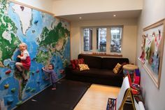 Art & Decor: A Climbing Wall With Right Protection Is A Great Idea In The Kids Playroom, Playroom Design, Cool Playroom Design World Map Mural, World Map Decor, Playroom Design, Playroom Decor, Playroom Ideas, Kid Playroom, Indoor Climbing Wall, Kids Climbing, Rock Climbing