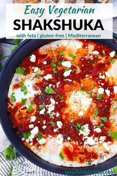 Shakshuka is an easy Mediterranean (Tunisian) vegetarian, gluten-free recipe with eggs simmered in a spiced tomato and pepper sauce, topped with feta cheese. It's perfect for breakfast, lunch, or dinner, and great served with crusty bread or pita bread! Easy To Make Breakfast, Best Breakfast Recipes, Brunch Recipes, Breakfast Ideas, Egg Recipes, Real Food Recipes, Vegetarian Recipes, Free Recipes, Recipies