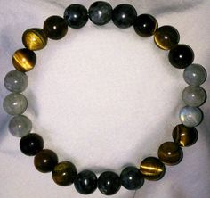 Labradorit Tigerauge Heilstein Perlen Armband
