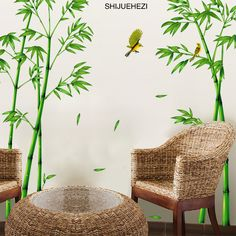 [SHIJUEHEZI] Green Bamboo Forest Wall Stickers Vinyl DIY Decorative Mural Art for Living Room Cabinet Decoration Home Decor-in Wall Stickers from Home & Garden on Aliexpress.com | Alibaba Group
