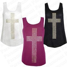 Pink, Black, and White golden studded cross sleeveless racer cut tank... ❤ liked on Polyvore featuring tops, shirts, tank tops, blusas, white sleeveless tank top, white tops, sleeveless tops, pink tank top and pink sleeveless shirt