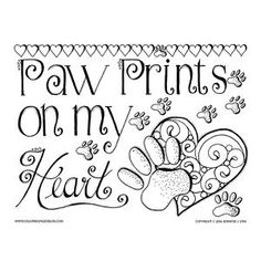 Printable Coloring Pages For Adults Valentines Or Any Time Paw Prints Page This Sweet Is Dedicated To Our Furry