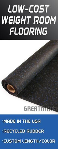 Rolled rubber is one of the lowest cost weight room flooring options. Check out Greatmats many variety of rolled rubber weight room flooring.