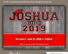 Graduation party invitation for a high school graduation or college graduation party. Boy Printable, Printable Invitations, Party Printables, Baby Sprinkle Invitations, Baby Shower Invitations For Boys, College Graduation Parties, Class Of 2019, Graduation Party Invitations, Baby Shower Invitations