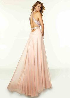 Long Blush Halter Beaded Lace Chiffon Prom Dress With Slit Leg [Mori Lee 97018 Blush] - $164.00 : Hot Trends Style Prom Dresses 2016 For Evening Party Online
