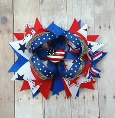4th of july hair bows spangle it 4th july hair