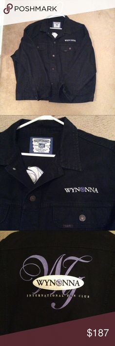 Black Embroidered Levi Wynonna Fan Club Jacket XXL This black denim jacket is in amazing condition. The denim is still jet black & the logo embroidery is perfection! This jacket was issued as a limited edition & I've never been able to locate another one let alone one in such amazing condition. It has Wynonna's name embroidered on the front left breast & her logo across the back shoulders. The zipper & buttons are all present and in perfect working condition. It is as close to perfect as it…