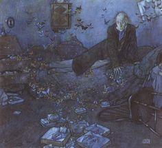Edmund Dulac, The Entomologist's Dream, illustration to Le Papillon Rouge, 1909