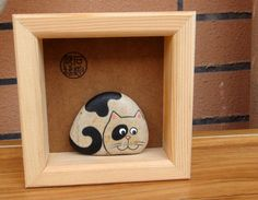 Cat Kitty Hand Painted Pebble Stone in a by RockPaperScissors111, $27.99