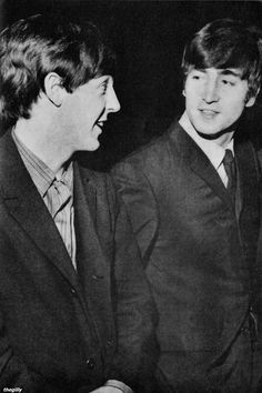 Paul McCartney and John Lennon at the Southend Odeon, December 9 1963. Scan from Beatles Book Monthly No. 7