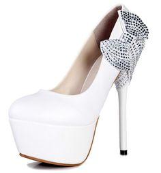 White String Bows Princess Stiletto High Heels Wedding Prom Bridal Shoes | eBay