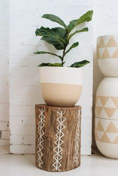 Painted stumps would be cute for extra seating/tables Painted Wood Walls, Painted Driftwood, Hand Painted, Painted Plant Pots, Decoration Plante, Minimalist Home, Plant Decor, Indoor Plants, Flower Pots