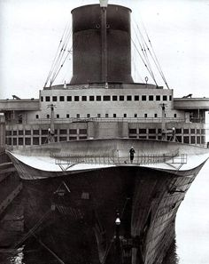 The SS Normandie in 1940 docked in New York harbor