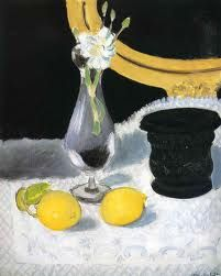 henri matisse still life - in this painting, Matisse has put  a very bright yellow lemon against a white cloth to make the lemon stand out. I have taken this idea and have put it into my mixed media composition by putting very bright colours against a slightly paler background.
