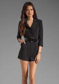 Revolve Clothing - Catherine Malandrino Long Sleeve Jumper with Patent Leather Belt in Noir