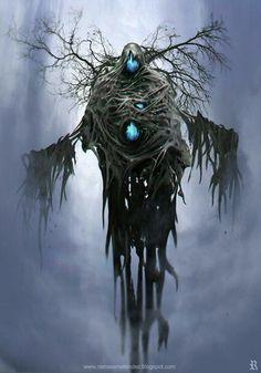 ArtStation - Looking at astral pathway, Ramses Melendez Dark Fantasy Art, Fantasy Artwork, Dark Art, Monster Art, Monster Design, Tree Monster, Arte Horror, Horror Art, Ramses
