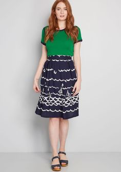 This navy blue midi skirt from Fever London encourages your imagination to come aboard its whimsical white print of sketched sailboats and swooping waves. Jessica Day, Cool Summer Outfits, Church Outfits, Beach Dresses, Retro Fashion, Perfect Fit, Midi Skirt, High Waisted Skirt, My Style