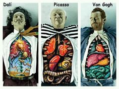 Inside Famous Painters - one can nitpick with using Comic Sans, that while the Dali is pretty good, Picasso's should have been Cubist & Van Gogh wouldn't be so realistic (and he wouldn't have a left ear) etc. but you can certainly say that the uncredited artist had *ahem* guts.