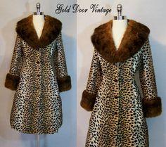 Lilli Ann Fur Trim Leopard Trench Coat