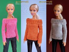 Barbie doll in hand knitted sweaters in 3 different colors