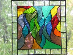"""""""In Motion"""" Stained Glass Hanging Panel 