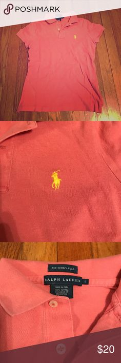 Peach polo Peach/salmon color-worn a few times-yellow pony-short sleeve-skinny fit Ralph Lauren Tops