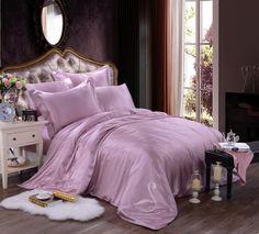 Lavender, Silk Bedding Set, Duvet Cover Set, Violet, Luxury Pure Silk bedding, Modern Look, Queen, King, California King, Purple