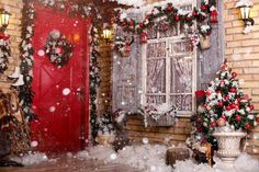 FT Doors Decorated By Festive Chaplet And Toys For Christmas Photogrpahy Backdrop Christmas Photo Props, Christmas Backdrops, Family Christmas Pictures, Christmas Scenes, Christmas Toys, Outdoor Christmas, Christmas Decorations, Cute Christmas Backgrounds, Outdoor Garland