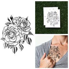Double Rose  tatouage temporaire ensemble de 2 par Tattify sur Etsy