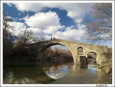 This is Ziakas stone bridge near Ziakas village, a few km away from the city of Grevena in Greece. Old Bridges, Brooklyn Bridge, View Image, River, City, Stone, Greece, Rocks, City Drawing