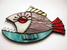 Items similar to Contemporary glass art piranha Stained glass suncather fish Birthday gift Steampunk fish on Etsy Stained Glass Ornaments, Stained Glass Birds, Stained Glass Suncatchers, Stained Glass Projects, Fused Glass, Clear Ornaments, Stained Glass Patterns Free, Snowman Ornaments, Blown Glass